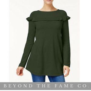 NWT Style & Co Ruffled Sweater Tunic XLARGE IVY
